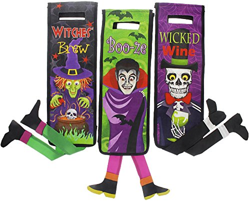 Halloween Witch, Skeleton, Vampire Decorative Canvas Wine Bags with Handles - 3 Pack, 14