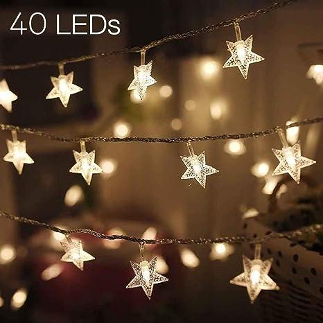 MengK LED Star String Lights Battery Operated Fairy String Light Christmas  Lights For Christmas Decorations Indoor