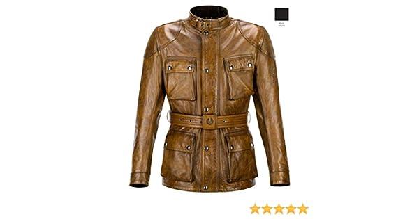Belstaff Classic Trophy - Chaqueta de piel, talla L, color coñac (marrón): Amazon.es: Coche y moto