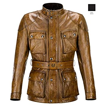 Belstaff Classic Trophy - Chaqueta de piel, talla L, color coñac (marrón)