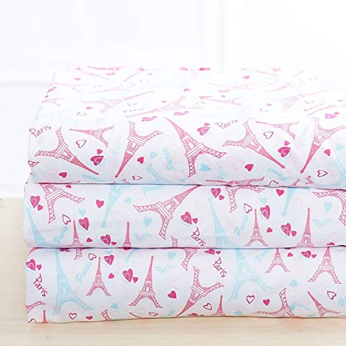 Luxury Linen Collection Printed Sheet Set with Pillowcase Paris Eiffel Tower White Pink Blue Kids/Girls/Teens ()