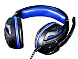 Livoty Headset Stereo Gaming Headset Headband Headphone USB 3.5mm LED with Mic for PC (Blue)