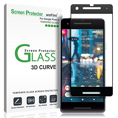 Google Pixel 2 Screen Protector Glass, amFilm Google Pixel 2 Tempered Glass Screen Protector 3D Curved with Dot Matrix for Google Pixel 2 0.3mm (1 Pack) [UPDATED ADHESIVE VERSION]
