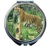 Rikki Knight Tiger on Dark Green Background Design Round Compact Mirror
