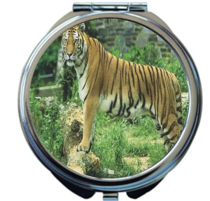 Rikki Knight Tiger on Dark Green Background Design Round Compact Mirror by Rikki Knight