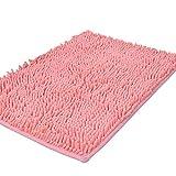 Bathroom Mats Pink Shag-Style Bath Rug Non-slip Chenille Bathroom Shower Mats Absorbent Shaggy Rugs,19.6