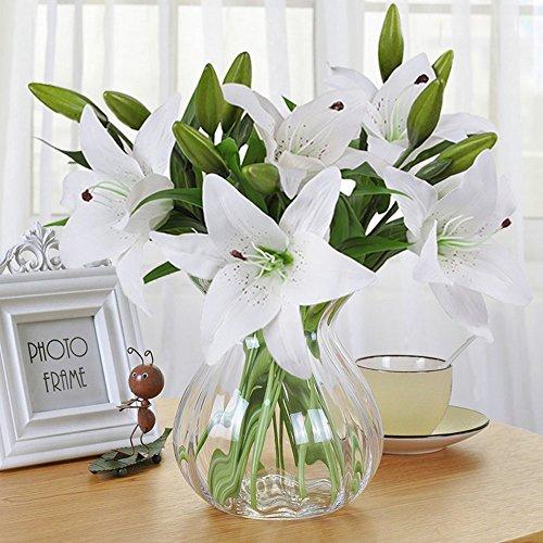 Artificial Flowers, Meiwo 5 Pcs Nearly Natural Artificial Lillies Flowers for Wedding Bouquets / Home Decor / Party / Graves Arrangement(White)