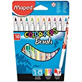 Maped Helix USA Color'Peps Brush Felt Markers, Assorted Colors, Pack of 10 (848010)
