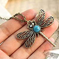Vintage Dragonfly Rhinestone Crystal Necklace Pendant Jewelry Womens Lady