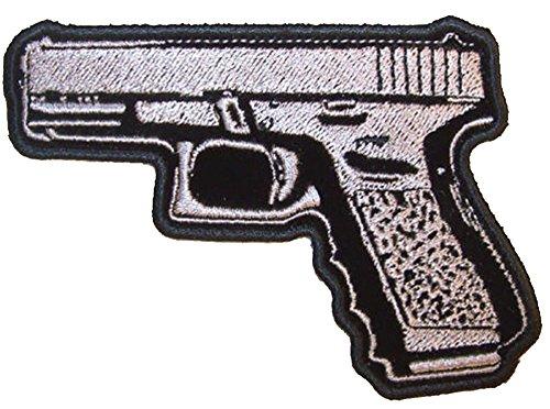 45 Magnum Hand Pistol Gun Shooting Left - Novelty Embroidered Biker Jacket Patch