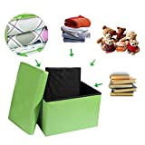 """Inoutdoorkit FSL01 Foldable Leather Storage Ottoman Bench Footrest Stool, Coffee Table Cube For Home, Office, Garden, Traveling, 16""""x10""""x10"""" Folding Organizer Seat Prefect For Kids"""