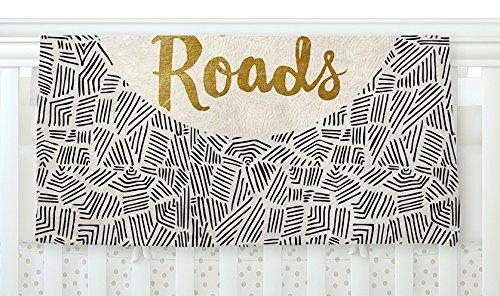 KESS InHouse Pom Graphic Design Let's Travel New Roads Gold Black Fleece Baby Blanket 40 x 30 [並行輸入品]   B0785RFK9B