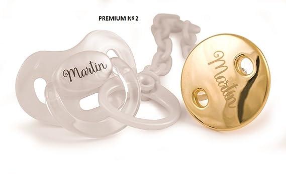 Chupete y cadena Premium personalizados: Amazon.es: Bebé