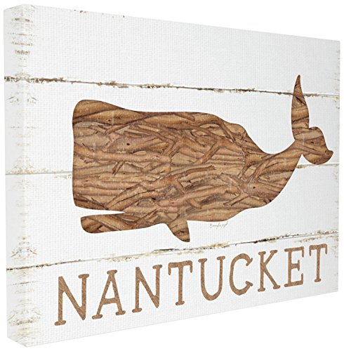 Stupell Industries Nantucket Whale Stretched Canvas Wall Art, Proudly Made in USA