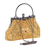 AIJUN Womne's Vintage Clutch Purse Cocktail Wedding Party Evening Handbag Sequin Moonlight Flower Bead Embroidery Package Evening Bag (Gold)