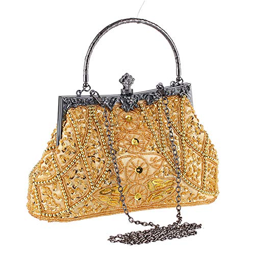 (AIJUN Womne's Vintage Clutch Purse Cocktail Wedding Party Evening Handbag Sequin Moonlight Flower Bead Embroidery Package Evening Bag (Gold))