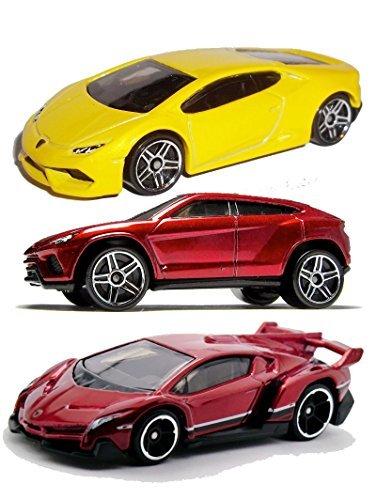 Hot Wheels 2015 Lamborghini 3-Car Set: Red Veneno, Yellow Huracan LP 610-4, and Red Urus