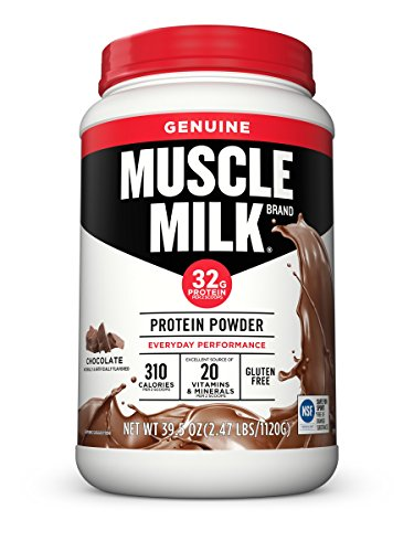 Muscle Milk Genuine Protein Powder, Chocolate, 32g Protein, 2.47 Pound (Packaging May Vary) Gluten Free Chocolate Milk