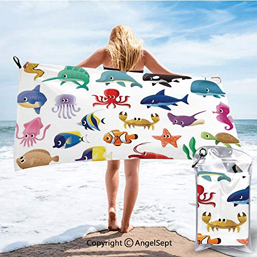 - RWNHome Towel Ultra Fast Dry Travel and Sports Towels,Variety of Marine Organisms Stingray Squid Sea Star Seahorse Sailfish Lobster Artwork Multicolor,27.5