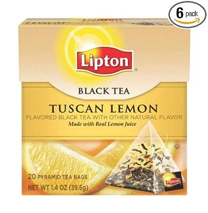 Lipton Pirámide Bolsitas de té, Toscana Limón, 20 Count ...