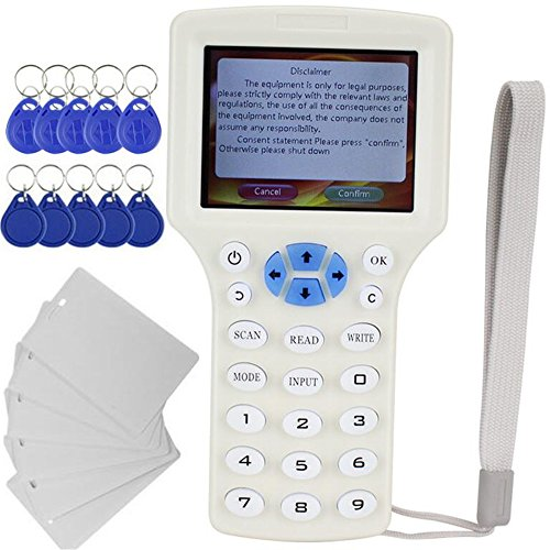 English 10 Frequency RFID NFC Card Copier Reader Writer for IC ID Cards and All 125kHz Cards +13.56mhz UID Key +1USB