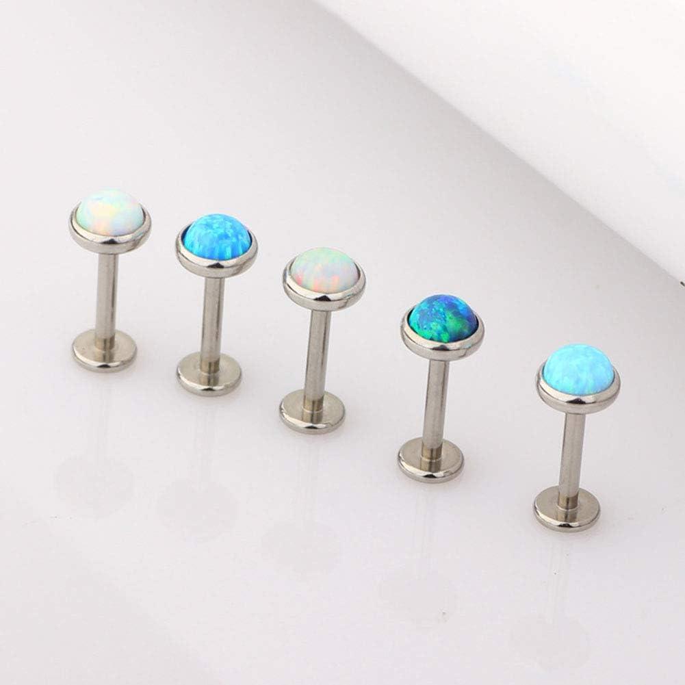 Gsdviyh36 Body Piercing Jewelry,1Pc Men Women Faux Opal Labret Lip Ring Ear Stud Earring Perfect a Jewelry Gift Nose Ear Lip Belly Button Decor