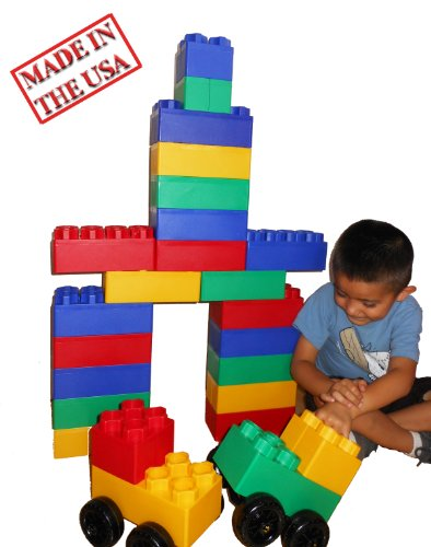 Giant Blocks (40pc Jumbo Blocks - Big City Playset with Wheels)