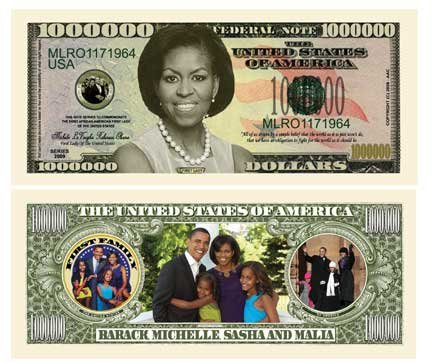 SET OF 10 BILLS-Michelle Obama Million Dollar Novelty Bills