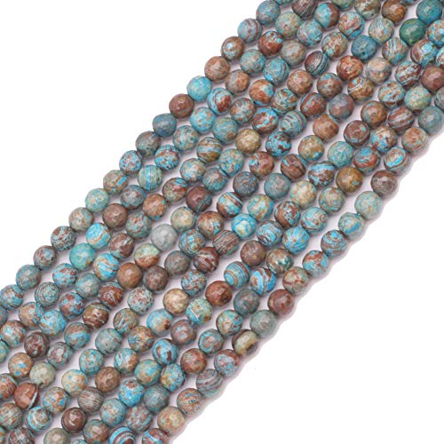 GEM-inside 6mm Faceted Blue Crazy Lace Agate Gemstone Loose Beads Handmade Round Beads for Jewelry Making Jewelry Beading Supplies for Women