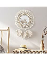 Dremisland Hanging Wall Mirror-Boho Macrame Fringe Round Decorative Mirror with Wood Beads Feather Pendant,Art Ornament for Apartment Home Bedroom Living Room -2 Set