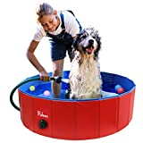 Fuloon Foldable PVC Pet Swimming Pool Bathing Tub Bathtub Dog Cats Washer 32inch.D x 8inch.H