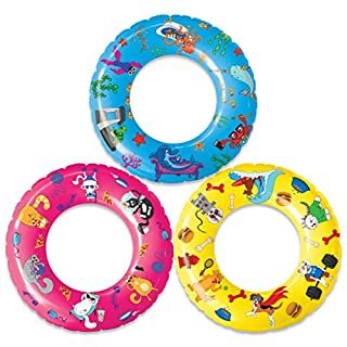 USA Toyz Inflatable Pool Floats for Kids - 3 Pack Pool Rings with Original Designs (Dogs, Cats, Fish)