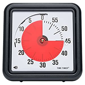 Time Timer 8 inch, 60 minute visual analog timer, desktop or wall mountable, optional alert.