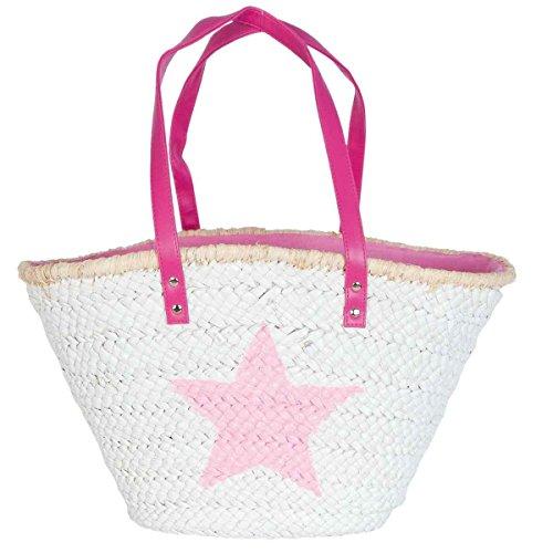 Clayre & Eef bag306F Borsa Shopper Borsa da spiaggia cestino cesto bianco stella rosa ca. 61x 16x 30cm