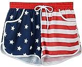 Womens July 4th USA Flag Summer Sports Beachrider Briefs Bottom Tankini Swim Board Shorts USA Flag XL