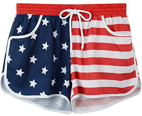 Women's US Flag 4th Of July Casual Tankini swim Board Shorts Briefs Bottom US Flag L