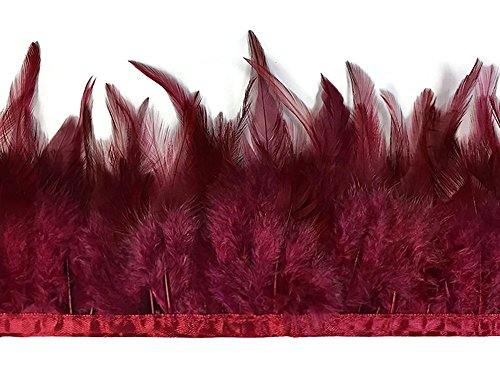 Project M All Special Costumes (Rooster Feathers, 1 Yard - Burgundy Rooster Hackle Feather Trim)