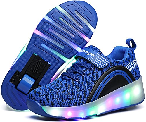 Unisex Boys Girls LED Lighting Single Wheel/Double Wheels Roller Skate Sneakers(Blue 1wheel 39/8 B(M) US Women / 6 D(M) US Men)