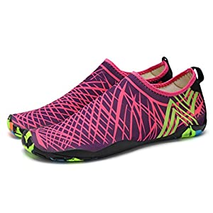 Women's and Men's Mesh Aqua Water Shoes Quick Drying Walk On Beach Outdoor Unisex Adult Feet Length 260 Rose