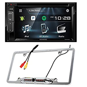 Kenwood DDX24BT Double DIN Bluetooth Stereo with 6.2 inch Wide VGA Color LCD Display + Cache Night Vision Car License Plate Rearview Camera - Silver CAM810S