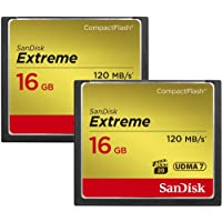 SanDisk 16GB Extreme Compact Flash Memory Card - Two Pack - Transfer Speed Up to 120MB/s