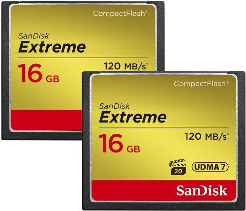 SanDisk 16GB Extreme Compact Flash Memory Card - Two Pack - Transfer Speed Up to 120MB/s ElectricalCentre SDCFXS2-016G-X46
