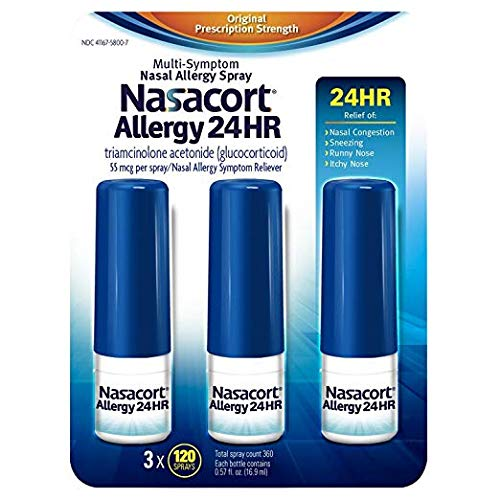 Nasacort Allergy 24 Hour Nasal Spray 1 Pack (120 Spray + 3 Count) 14 Non-Competing