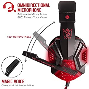 Gaming Headset with Mic and LED Light for Laptop Computer, Cellphone, PS4 and son on, DLAND 3.5mm Wired Noise Isolation Gaming Headphones - Volume Control.( Black and Red )
