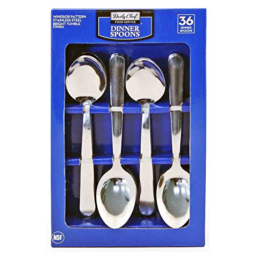 Daily Chef Stainless Steel Dinner Spoons - 36 ct. (Restaurant Silverware compare prices)