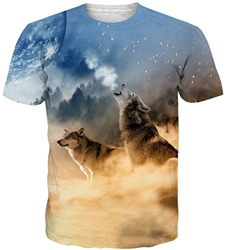 Kids Printed T-shirts - Uideazone Teen Boys Girls Printed Wolf Moon T-Shirt Cool Graphic Tee Shirt Small