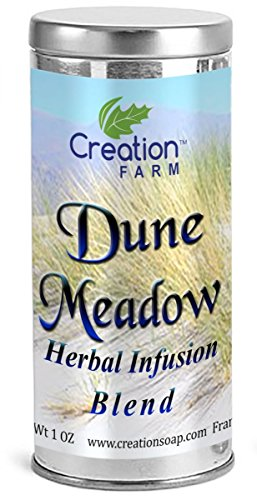 Holly Farm (CREATION FARM Dune Meadow Herbs- Herbal Tea Infusion, Whole Leaf and Flower Blend Holly Hocks, Hibiscus, Borage, Marshmallow, Calendula, Lemon Balm, Echinacea, Peppermint Spearmint, and Rose 1oz Tin)