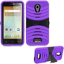 Phone Case For Alcatel-Allura Prepaid GoPhone (AT&T) / Pop-4-Plus / Fierce-4 (MetroPCS) Rugged Heavy Duty Armor Cover Stand (Armor Purple Skin-Black Stand)