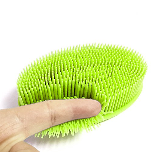 Soft Silicone Body Brush Body Wash Bath Shower Exfoliating Skin SPA Massage Scrubber Cleanser, Baby Shower Brushes for sensitive and all kind skins (Green)