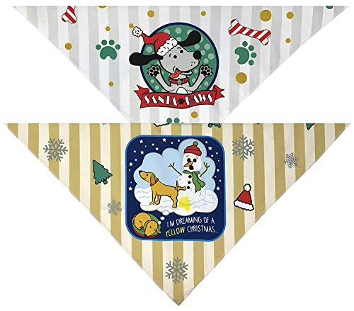 Lavley Funny Christmas & Winter Holiday Dog Bandanas - Gag Gift Clothing Collar or Costume Accessory Present Idea for Our Furry Pet Friends - 2 Pack of Handkerchiefs ()